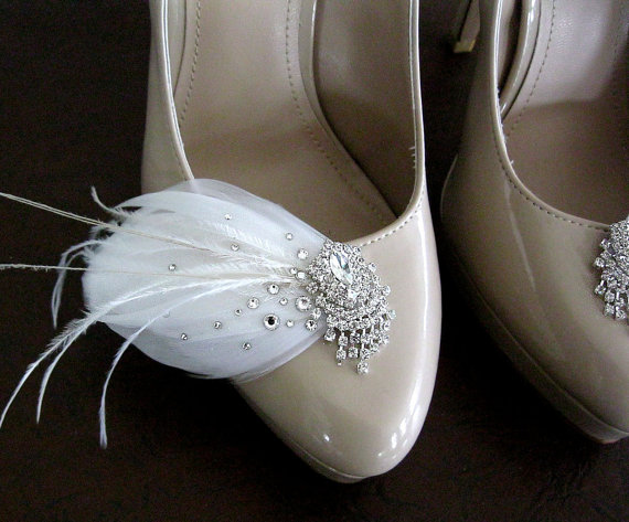 Wedding - Stardust Feather and Rhinestone bridal shoe clips in natural white with extra rhinestones
