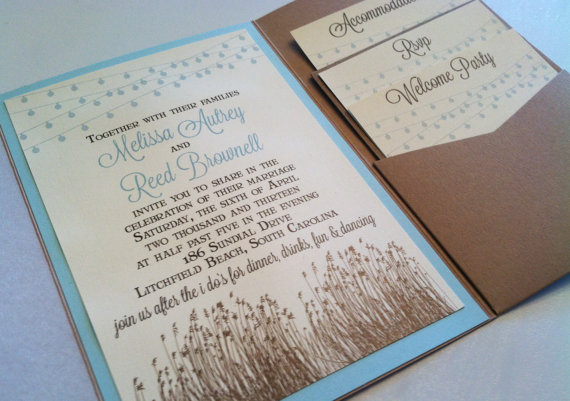 Hochzeit - Low Country/Beach Backyard Wedding Invitation