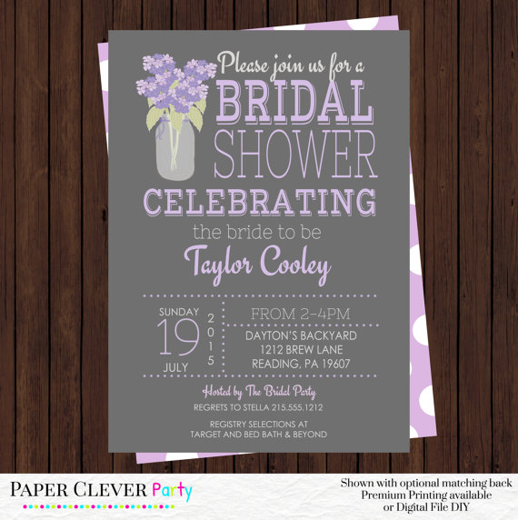 Bridal Shower Invitations Purple And Gray With Hydrangea Flowers Typography Vintage Style Printed Or Digital File