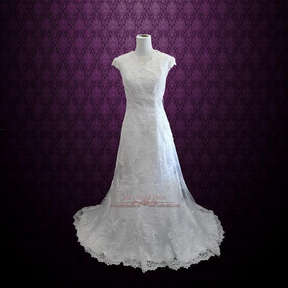 Mariage - Modest Lace Overlay Wedding Dress