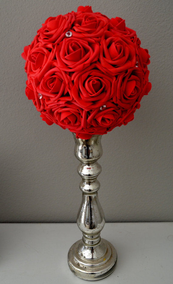 RED Bling Foam Flower Ball WEDDING CENTERPIECE Kissing Ball ...