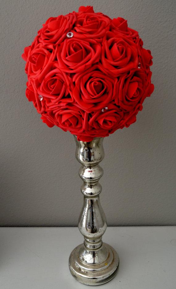 Mariage - RED Bling foam flower ball WEDDING CENTERPIECE kissing ball pomander with Crystal Gems accent gem brooch