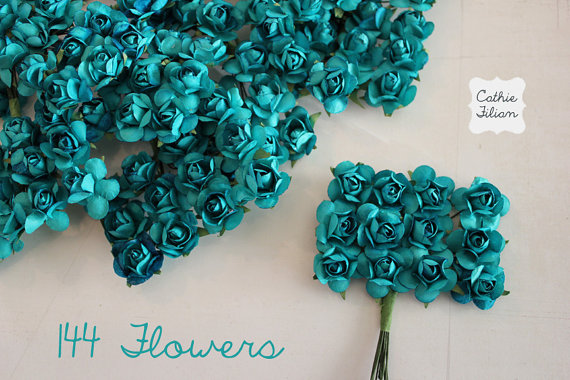 Wedding - 144 Teal Paper Flowers - small bouquet - wedding, bridal, baby showers, invitation making, scrapbooking