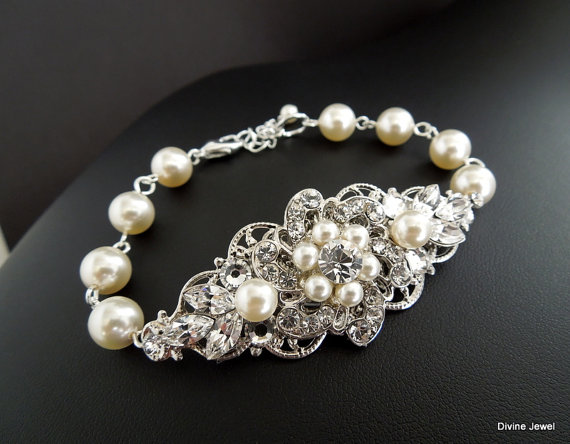 Pearl Bracelet Wedding Jewelry Cuff Rhinestone Swarovski Pearls And Crystals Bride Amelia