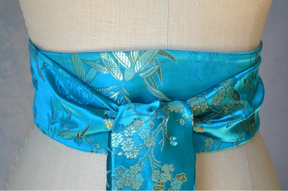 Hochzeit - Aqua obi belt sash reversible ocean blue waist cincher wedding engagement party asian brocade