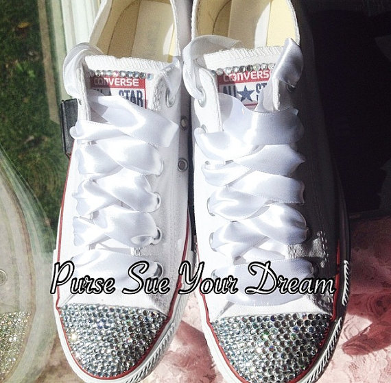 5e1cd237cc08 Bridal Custom Shoes - Swarovski Crystal Wedding Shoes - Pearl and  Rhinestone Converse - Bride Shoes - Wedding Cnnverse