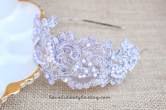 Mariage - Gray Sequins and Pearl Beading Flower Lace Headband, Bridal Headband, Bridesmaid Headband
