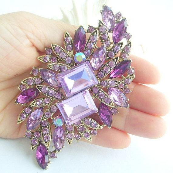 Свадьба - Elegant Lavender Rhinestone Crystal Flower Brooch Art Deco Crystal Sash Brooch Scarf Brooch Wedding Accessories Bridal Bouquet EB04079C4a