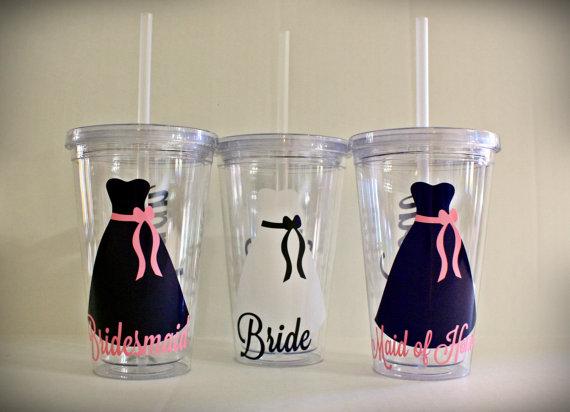 زفاف - 4-8 Personalized 16 oz Bridesmaid Tumbler Bridal Party Gift Bridesmaid Cup