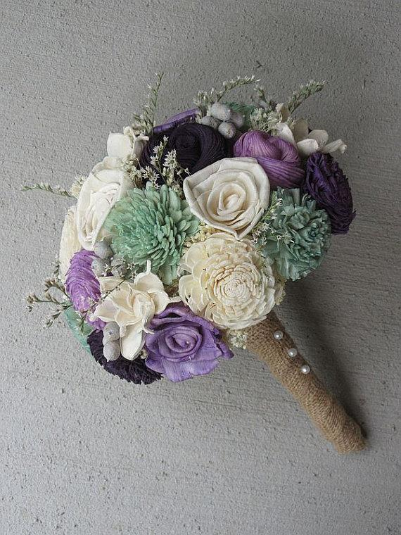 Handmade Wedding Bouquet Sola Wood Burlap Purple Mint Alternative Ready To Ship Flowers