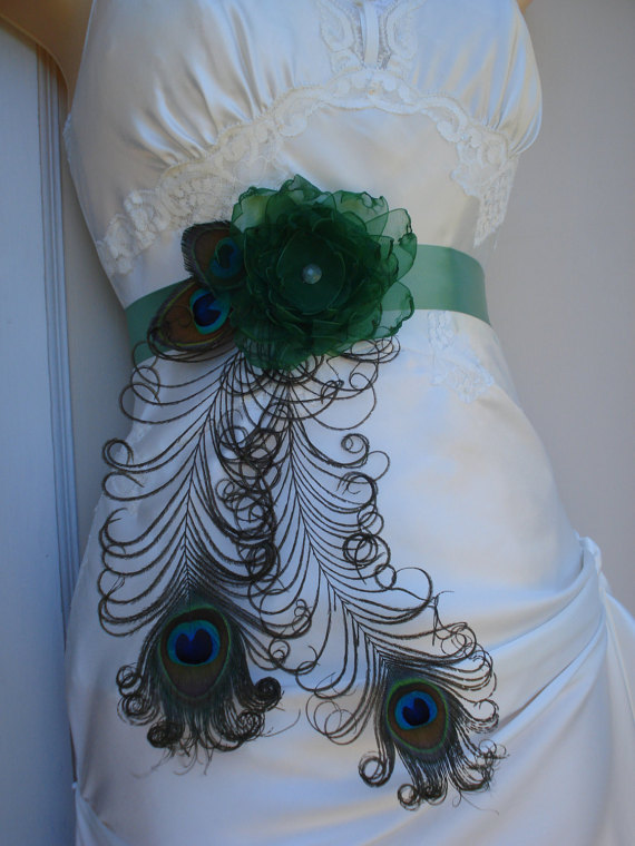 Peacock Wedding Sash