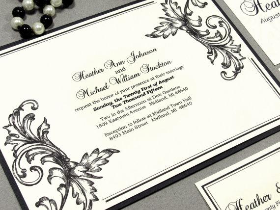 Wedding - Scroll Wedding Invitation Set, Filigree Wedding Invitation Suite, Black and Ivory Wedding Invitations, Traditional Wedding Invitation Pocket