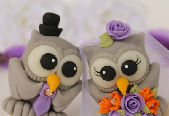 Wedding - Love bird wedding cake topper owls - custom bride and groom personalized, with banner