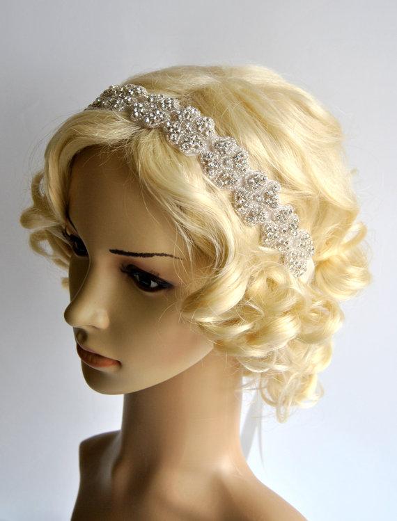 Mariage - Rhinestone Headband, Wedding Headband, Crystal ribbon tie on Headband, Wedding Headpiece, Halo Bridal Headpiece, 1920s Flapper headband