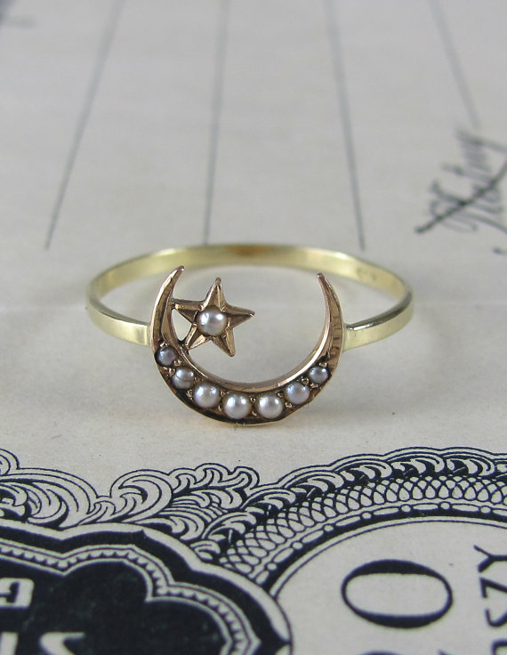 Wedding - PRETTY crescent moon and star ring, antique Victorian engagement ring, stacking ring, promise ring, alternative engagement gold ring.