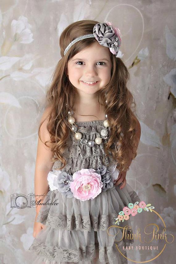 Wedding - flower girl dress,Lace flower girl, dress rustic flower girl dress, Grey lace dress, Girls dress,baby dress,1st birthday outfit.