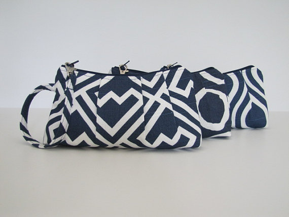 Mariage - Set of 3  Navy Bridesmaid Wristlet, Bridesmaid Clutch, Navy Wedding - Your Choice Fabric