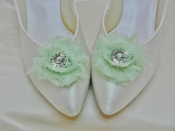 Свадьба - Mint Green Wedding Shoe Clips with Rhinestone Accent