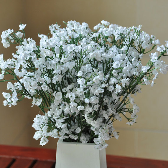 Свадьба - 30 pcs Silk Babys breath For Bridal Bouquet Flowers White Babysbreath Wedding Decorative Flowers Home Decor