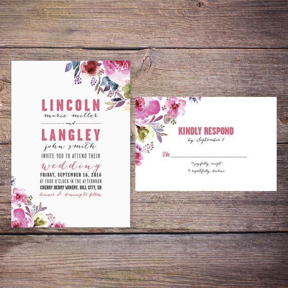 زفاف - Watercolor Floral Wedding Invitation Suite, Summer Flowers, Modern, Invites, DiY Digital Printable Option