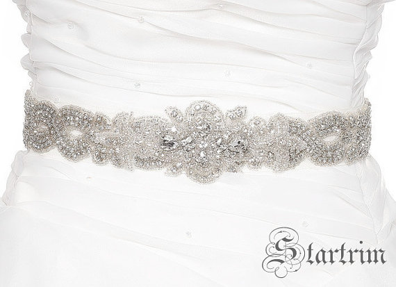 Mariage - SALE ALIYA Crystal wedding bridal beaded sash , belt
