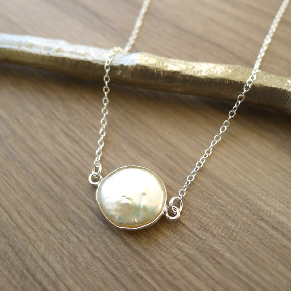 Свадьба - Sterling Silver Pearl Necklace, Simple Necklace, Elegant Necklace, Modern Pearl Necklace