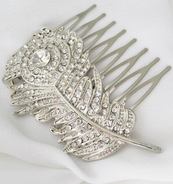Mariage - Silver Bridal Comb, Wedding Hair Comb, Silver Feather Brides Headpiece, Feather Hair Comb