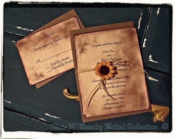 زفاف - Country/ Rustic Sunflower wedding / Bridal shower invitation suite