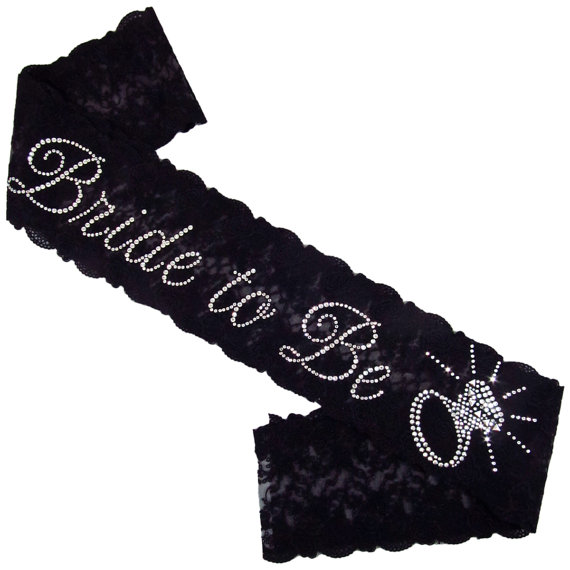 Свадьба - Rhinestone Bride to Be Lace Sash with Solitaire Accent - Organza Lace Sash with Rhinestone Personalization