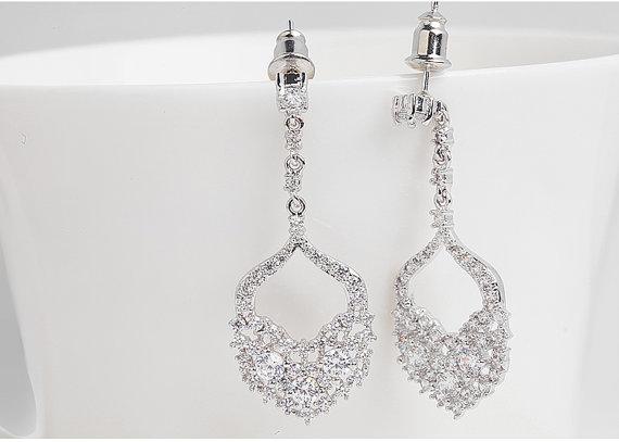 Свадьба - AAA Swiss Cubic Zirconia Earrings, Wedding Bridal Bridesmaids Gifts, Hypoallergenic Round Cut Post Earring Dangle Earrings, Wedding jewelry