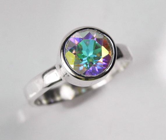 Wedding - Mystic Topaz Engagement Ring - Unique Alternative Wedding Ring - Big Rainbow Gemstone - Ice Blue Aqua Green Purple - Winter Wonderland