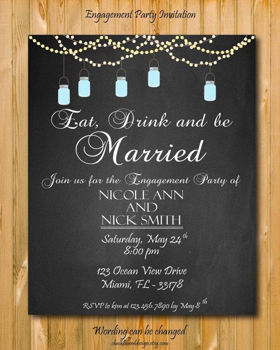 Wedding - Engagement invitation, Engagement Party invitation, custom chalkboard invite, Printable, DIY