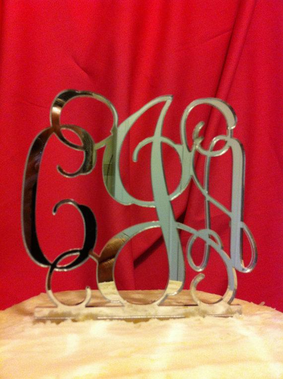 Wedding - Custom Monogram Silver or Gold 3 Letter Acrylic Personalized Initial Monogram Wedding Cake Topper
