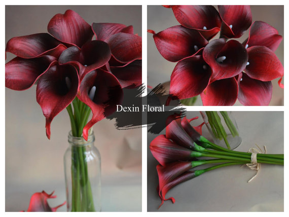 9pcs 36pcs Natural Touch Wine Dark Red Calla Lily Stem Or Bundle