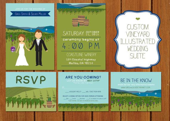 Wedding - Custom Illustrated Vineyard Wedding Invitation