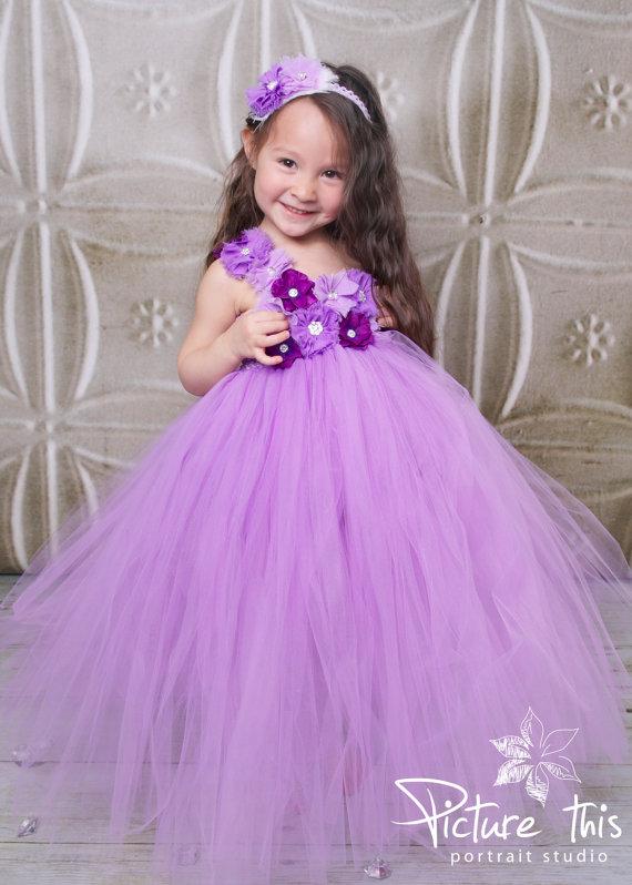 Свадьба - Purple Flower girl Dress- Flower girl dress- Lavender Flower girl dresses- Tutu Dress- Lavender Tutu