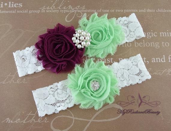 Mariage - Wedding Garter, Garter, Bridal Garter, Plum and Mint Green Shabby Rosettes Chic Garter Set, Garter Belt, Wedding Handmade Garter GTF0048