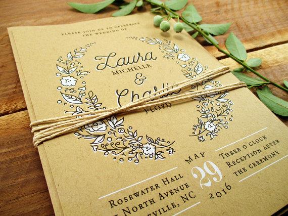 Wedding - Rustic Wedding Invitation Suite, SAMPLE SET - Wreath Wedding Invitation Country Wedding