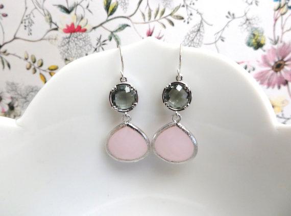 Wedding - Blush Pink and Grey Bridesmaid Earrings Pink Wedding Pink Earrings Gray Grey Earring Silver Earrings Silver Bridal Jewelry Grey Wedding Gift