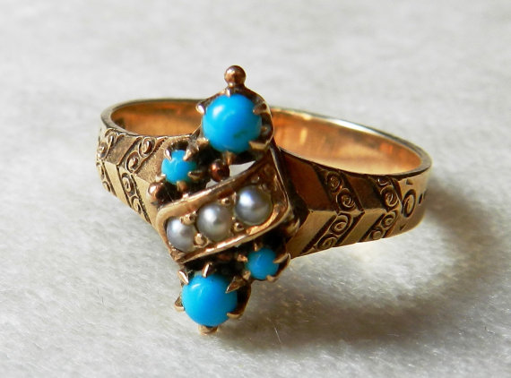 Victorian Turquoise Ring 1800s Rose Gold Seed Pearl Engagement Ring