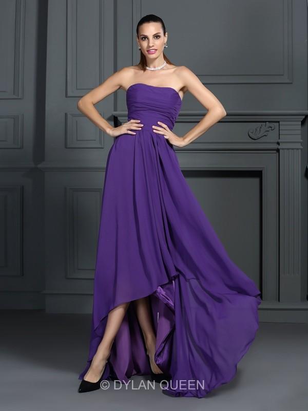 Свадьба - A-Line/Princess Sleeveless Strapless Chiffon Asymmetrical Pleats Dresses