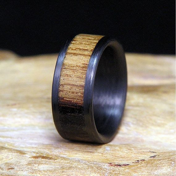 Mariage - Jack Daniels Select Wood Carbon Fiber Wedding Band Or Ring Authentic Charred Barrel Wood