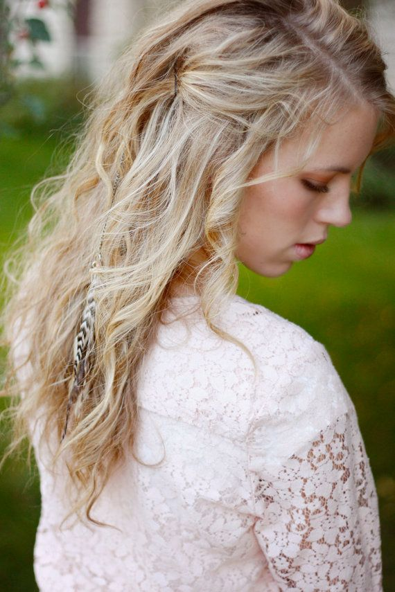 Wedding - Feather Clip: Long Feather Hair Extension With Small Stones
