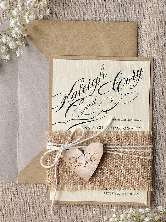 Hochzeit - Custom Listing (100) Rustic Wedding Invitation, Calligraphy Wedding Invitations , Engraved Wood Heart Wedding Invitation, Eco Friendly