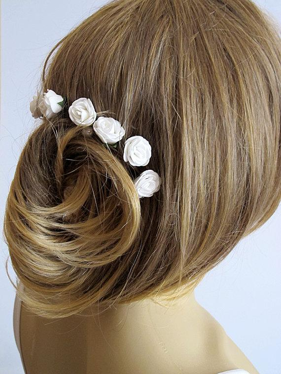 Wedding - White Rose Wedding Hair Pins, wedding accessory, Hair Accessories, Bridal Accessories, Bridesmaid Hair - Set of 6