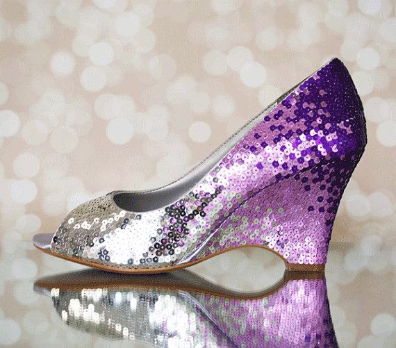 Wedding Shoes   Silver, Lilac And Purple Ombre Sequin Wedding Wedges