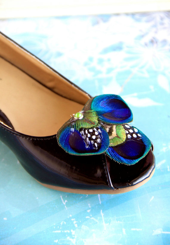 Hochzeit - BETH Peacock Shoe Clips, Couture