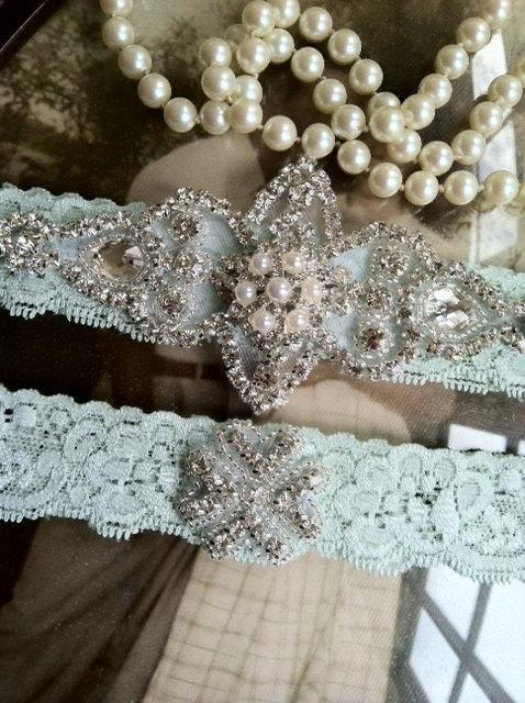 Hochzeit - Wedding Garter - Garters - Bridal Garter-Mint garter-Keepsake-Toss-Ivory Lace Garter Set-something blue-Cream Vintage Garter - Bridal Garter