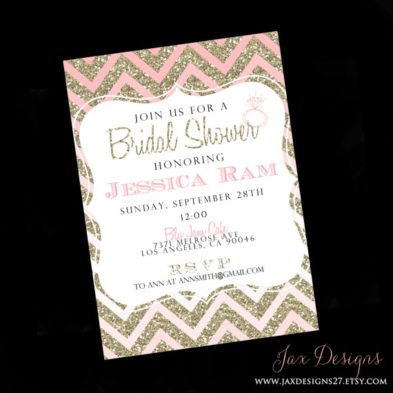 Mariage - Wedding  Bridal Shower Invites - Weddings, Bridal Shower - Glitter - Glitter Invitations - Printable