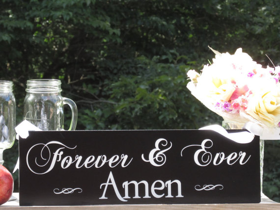 """Mariage - Forever & Ever Amen"""" © / Ring Bearer Flower Girl Sign / Painted Solid Wood / Wedding Sign"""